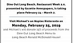 Michael's on Naples Ristorante Dine Out LB Flyer