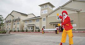 Front of the Inland Empire Ronald McDonald House with Ronald