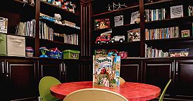 The Library and kids area at the Ronald McDonald Family Room in CHOC at Mission Viejo