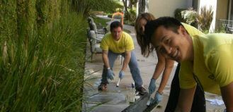 Cleaning up around the Los Angeles Ronald McDonald House