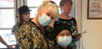 Family with Surgical Mask On