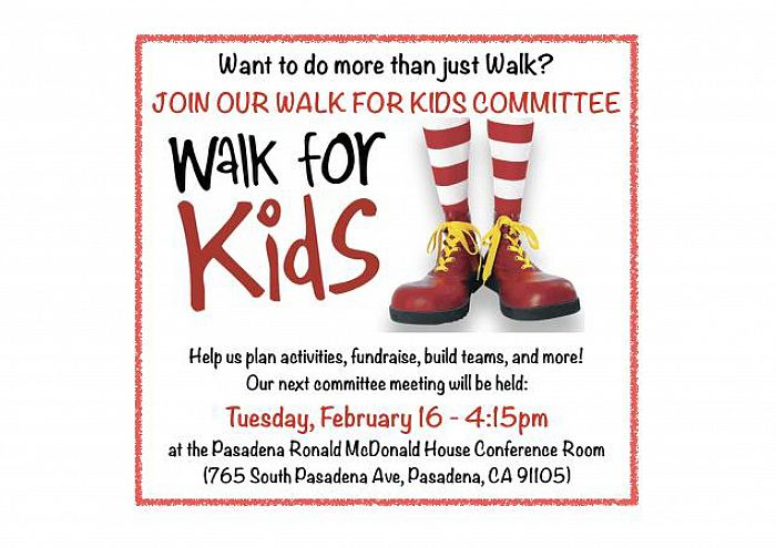 Walk For Kids Committee Meeting: Pasadena Ronald McDonald House