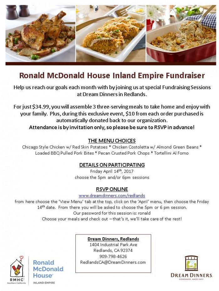 Dream Dinners of Redlands Meal Fundraiser Flyer for IERMH