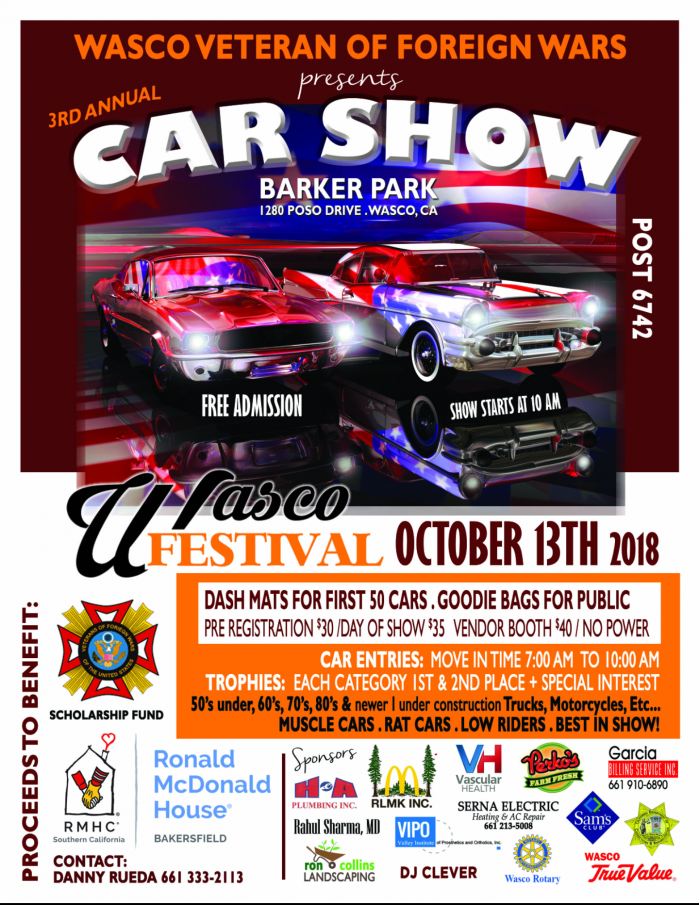 Wasco Festival Of Roses Rd Annual Car Show By VFW POST Oct - Bakersfield car show