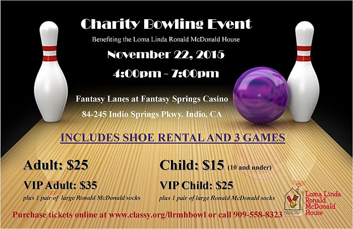 charity bowling event for loma linda ronald mcdonald house inland empire ronald mcdonald house. Black Bedroom Furniture Sets. Home Design Ideas