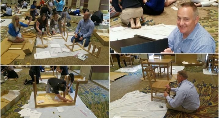 Employees of ADP Pasadena Assemble the Donated furniture for the Pasadena House